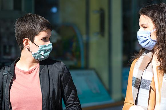 women wearing a mask